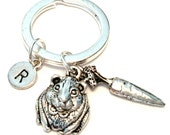 Guinea Pig Keychain, Custom Keychain, Custom Key Ring, Guinea Pig Pendant, Guinea Pig Charm, Guinea Pig Jewelry, Food for Guinea Pig, Carrot