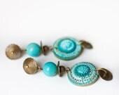 Turquoise Brass Boho Dangle Earrings - Textured Southwest Jewelry - Blue Statement Earrings