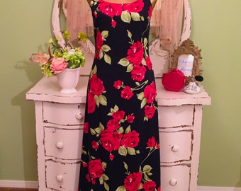 Red Rose Summer Dress, Laura Ashley Dress, Boho Floral Gown, S/SM, Black & Red Soft Cotton Weave Lined Dress, Womens Rose Print Day Dress