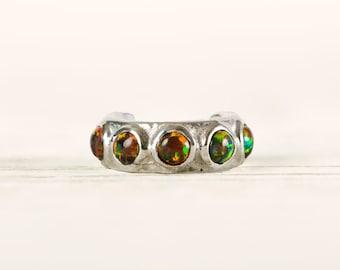 Sterling Silver Ear Cuff Earring Black Opal Stones Inlay Ear Wrap Earrings Boho Jewelry - ECU009 OP34
