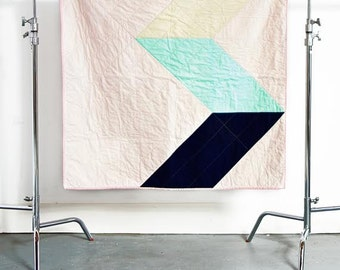 Pastel Zig Zag Cotton Quilt - Ready to Ship