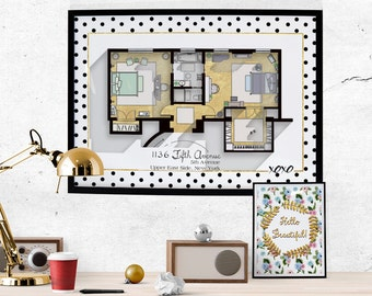 Tv Floor Plans Home Portraits And More Par Drawhouse Sur Etsy