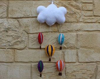 Mobile: felt hot air balloon and cloud mobile / wall decoration, hand stitched