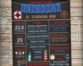 "First Birthday Poster Nautical themed 1st Birthday Personalized Milestones Sign Anchor Stats Poster, Chalkboard Style PRINTABLE 16x20"" Sign"