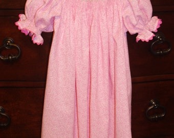Bishop, handsmocked dress, pink