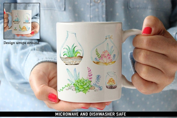 Coffee Mug Succulents Coffee Mug  - Beautiful Watercolor Floral Mug