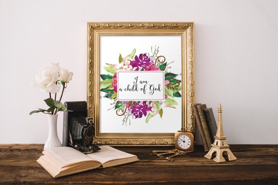 Bible verse wall art for a girls room floral decor kids room for Bible verses for kids rooms