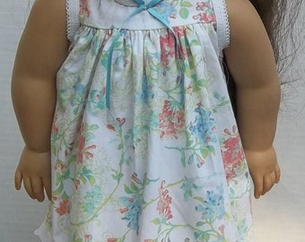 American girl nightgown coral turquoise floral