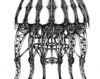 Mechanical Jellyfish Ink Drawing. Fine art print, Black and white art, Pen and ink art, Abstract art, Original art, Ink Illustration