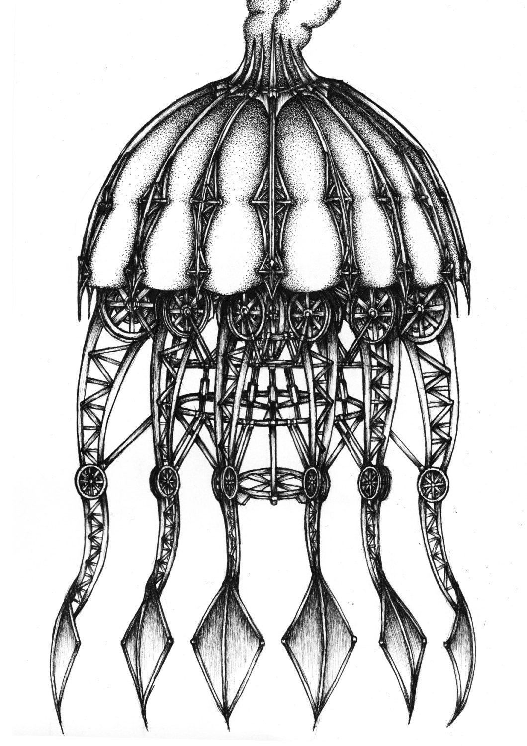 mechanical jellyfish ink drawing  fine art print black and