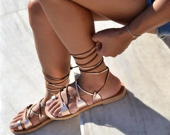 Leather sandals, Gladiator sandals, Greek sandals, Lace up sandals , Greek sandals in rose gold leather, Wedding sandals, SPARTI