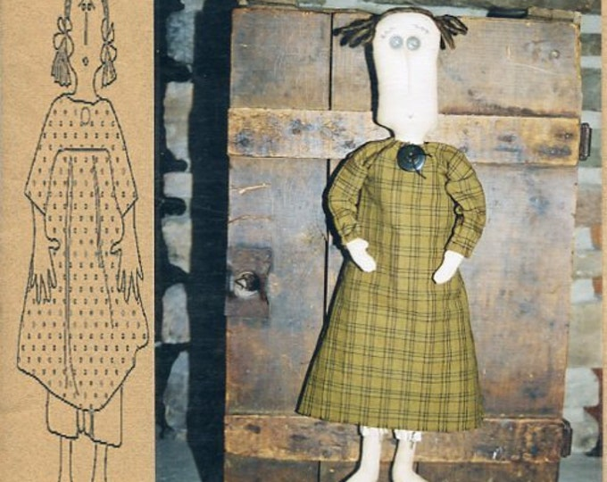 """FREE US SHIP Bless Your Heart Country Crafts 20"""" Doll Penelope Primitive Folk Art Uncut New Old Store Stock Sewing Pattern Ragdoll cloth"""