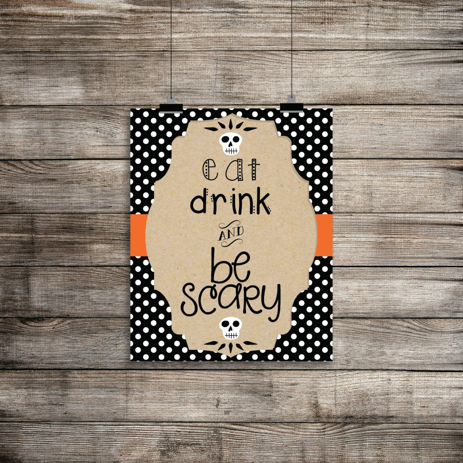 Eat drink wall decor : Eat drink and be scary halloween print wall decor