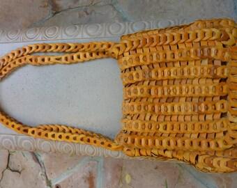 Unique BOHO Vintage 1970s Rich Natural Leather Chain Link Sturdy Medium Shoulder Handbag Purse Excellent Condition