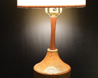 Vintage Danish  Mid Century Ceramic and Teak Accent Lamp