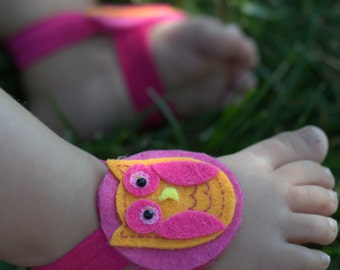 Orange and Pink Owl Barefoot Sandals
