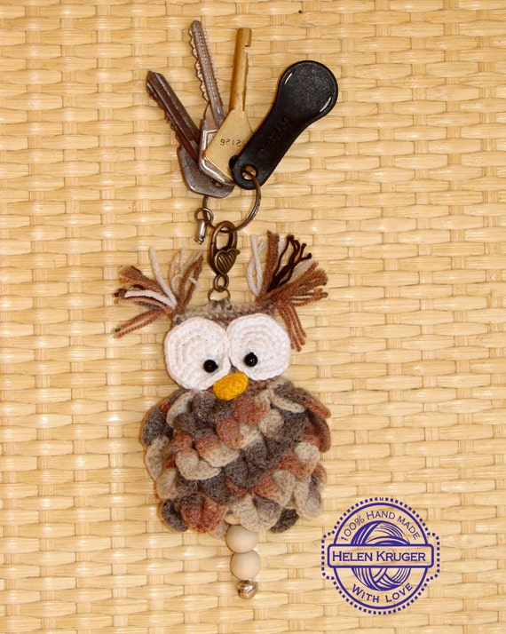 Keychain Owl crochet,Keychain handmade,Cute keychain,Owl pendant, original keychain,owl handmade,amigurumi owl,miniature owl,READY to ship
