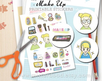 MAKE UP Printable Sticker, Daily Lifestyle, Cute Girly Blonde Fashion Lovely  Dress Up Cartoon, Diary Planner Journal Notebook, Deco Doodle