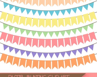BUY 3 FOR 8 USD, 30 Pastel bunting banners clip art, bunting clipart, digital bunting, decorative elements for instant download,