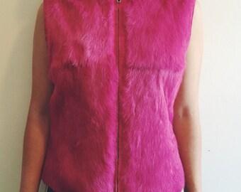 Vintage Magenta Rabbit Fur Vest