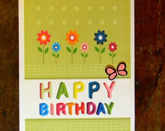 ON SALE  - Happy Birthday Greeting Card, Butterfly Flower Garden Happy Birthday Card, Birthday Card, Handmade Greeting Cards