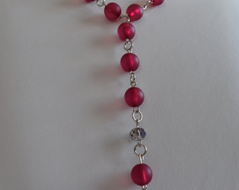 Necklace 'Y', Long necklace fushia, frosted beads necklace, necklace for opportunity, for prom necklace necklace and earrings