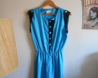 Vintage romper // Black and blue vintage romper // 1980s vintage romper // Retro romper // Elastic waist vintage romper //  M