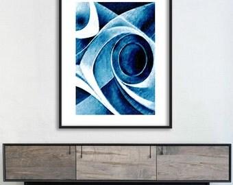 Blue Geometric Pattern Modern Art Print Circles Instant Download Abstract Print Art Home Printable Wall Art Decor Home Warming Gift Idea