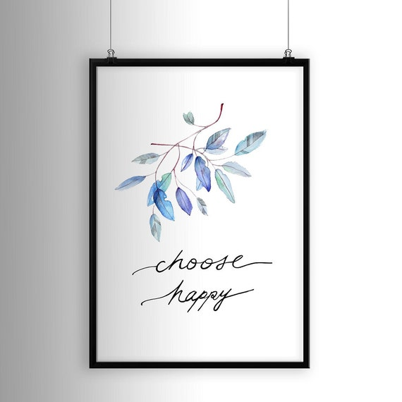 Poster Print Choose Happy Wall Art Living Room