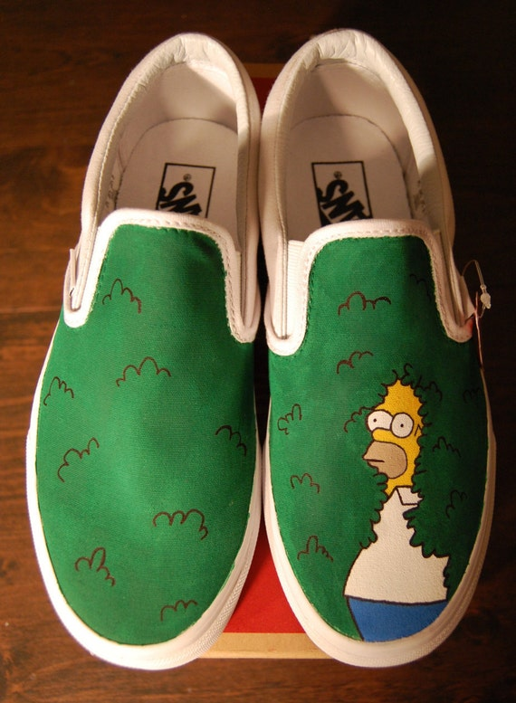 Hand painted Simpsons shoes Homer disappearing by ...
