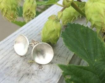 Silver Domed Stud Earrings