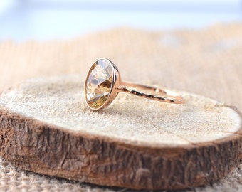 Graduation gifts,18k Solid Rose Gold Ring - Citrine Gemstone Ring, Birthday Gift - Made To Order