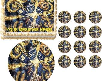 DOCTOR WHO TARDIS Exploding Edible Cake Topper Image Frosting Sheet Cake Decoration Many Sizes!