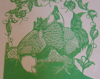 Chinese papercut of two hens