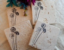 Wildflowers Coasters, Natural Stone Coasters, Designer Absorbent Drink Coasters, Set of 4