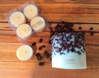 coffee bean candle holder with tealights . soy wax candle. eco-friendly .