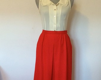 M 1980's Red Pendleton Midi High Waisted Wool Skirt Front Pleated with Pockets DEADSTOCK Medium