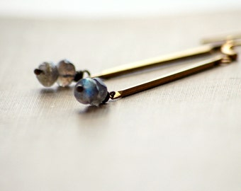 Labradorite Earrings Modern Brass Drop Polished Tri Corner Bar Clean Lines Blue Gray