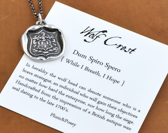 Wolf Crest Wax Seal Necklace in Latin Dum Spiro Spero - While I Breathe I Hope - 198
