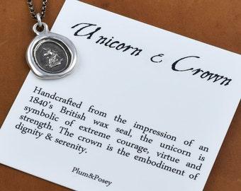 Unicorn & Crown Heraldic Wax Seal Necklace  - Unicorn pendant - Unicorn jewelry from heraldry - 210