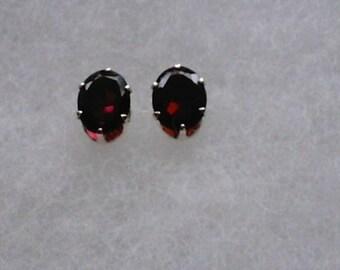 9x7mm Red Garnet Gemstones in 925 Sterling Silver Stud Earrings  SnapsByAnthony