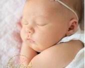 SAVE 15% Baby Girl Headbands / Newborn Headbands / Baby Headbands/ Small Flower Hairbow Infant Headband   Prop Baptism Wedding Christening