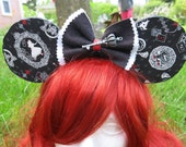 Black and White Alice Inspired Mouse Ears