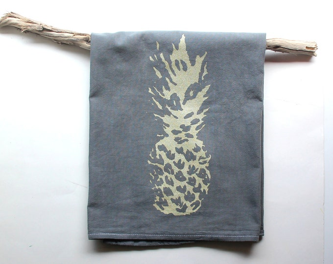Gray and Gold Pineapple Dish Towels / Pineapple Tea Towels / Hand Dyed Hand Printed towels / Boho Kitchen