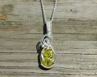 Color Change Lemon/Spring Green CZ Necklace Wire Wrapped Pendant Argentium Sterling Silver- Cat Rescue