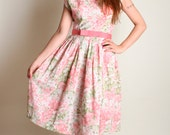 Vintage 1960s Floral Dress - Cotton Candy Pink Flower Garden Print Day Dress - Medium Large