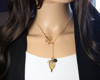 Gold Leaf Personalized Necklace, Gold Branch Necklace, Evergreen Leaf Necklace, Initial Charm Gold, Monogram