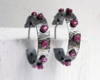 Ruby Studded Hoops, Hammered Silver Earrings, Recycled Sterling, Post Hoops, Patina Finish