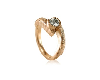 Winged Embrace Moissanite Rose Gold Engagement Ring, 14k Rose Gold,  18k Rose Gold, Moissanite Engagement Ring Rose Gold, Recycled Gold Ring