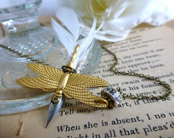 Steampunk Flying Feather Pen Writer's Necklace-  Dragonfly Vintage Fountain Pen Nib Reclaimed Jewelry - Writer, Author, Artist Gift